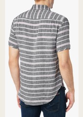 7 For All Mankind Short Sleeve Horizontal Stripe Shirt in Natural Stripe