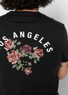 7 For All Mankind Short Sleeve LA Floral Tee in Black