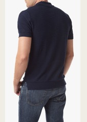 7 For All Mankind Short Sleeve Lightweight Sweater Polo in Authentic Navy