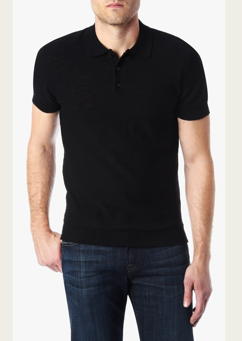 7 For All Mankind Short Sleeve Lightweight Sweater Polo in Black
