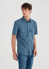 7 For All Mankind Short Sleeve Military Shirt in Cadet Blue