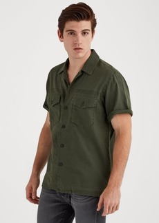 7 For All Mankind Short Sleeve Military Shirt in Rifle Green