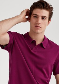 7 For All Mankind Short Sleeve Pique Polo in Fuschia