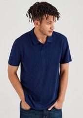 7 For All Mankind Short Sleeve Pique Polo in Navy