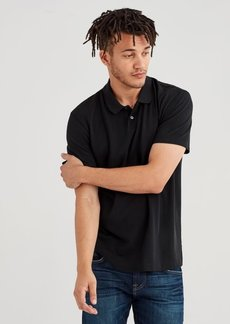 7 For All Mankind Short Sleeve Pique Polo in Old Black
