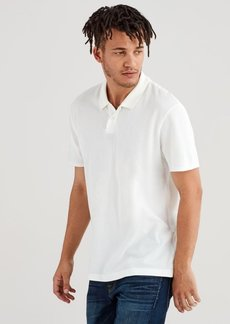7 For All Mankind Short Sleeve Pique Polo in Optic White