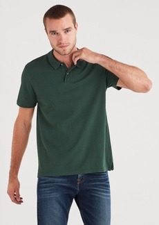 7 For All Mankind Short Sleeve Pique Polo in Pine