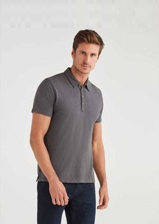 7 For All Mankind Short Sleeve Polo in Charcoal