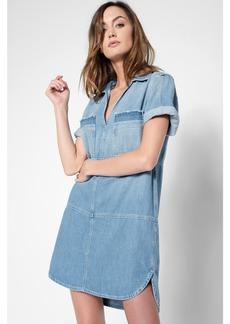 Short Sleeve Popover Dress in Coastal Blue