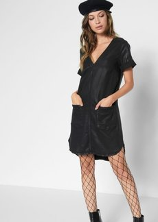 7 For All Mankind Short Sleeve Popover Dress in Coated Black