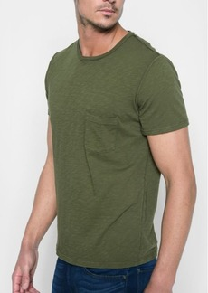 7 For All Mankind Short Sleeve Raw Pocket Crew in Army