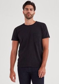 7 For All Mankind Short Sleeve Raw Pocket Crew in Black
