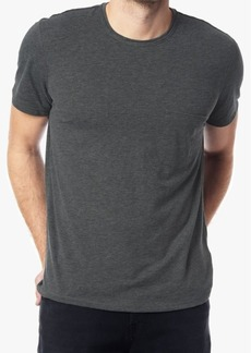 7 For All Mankind Short Sleeve Raw Pocket Crew in Heather Charcoal