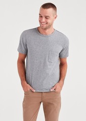 7 For All Mankind Short Sleeve Raw Pocket Crew in Heather Grey