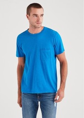 7 For All Mankind Short Sleeve Raw Pocket Crew in Imperial Blue