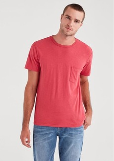 7 For All Mankind Short Sleeve Raw Pocket Crew in Mineral Red