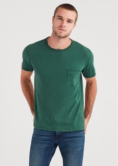 7 For All Mankind Short Sleeve Raw Pocket Crew in Pine
