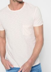 7 For All Mankind Short Sleeve Raw Pocket Crew in Pink Sunrise