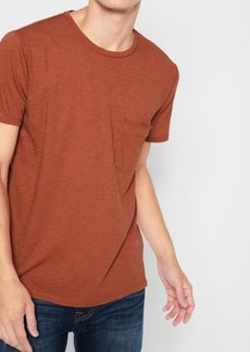 7 For All Mankind Short Sleeve Raw Pocket Crew in Rust