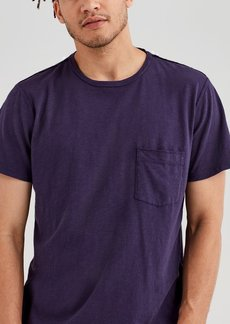 7 For All Mankind Short Sleeve Raw Pocket Crew in Violet