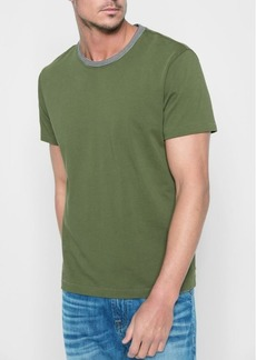 7 For All Mankind Short Sleeve Ringer Tee in Army