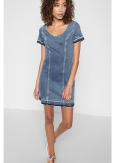 7 For All Mankind Short Sleeve Shift Dress with Released Hem in Rockaway Beach