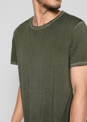 7 For All Mankind Short Sleeve Stone Washed Pima Crew in Army