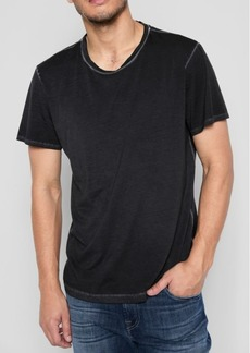 7 For All Mankind Short Sleeve Stone Washed Pima Crew in Black