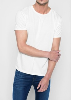 7 For All Mankind Short Sleeve Stone Washed Pima Crew in White