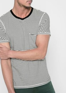 7 For All Mankind Short Sleeve Stripe Crew in Ecru Black Stripe
