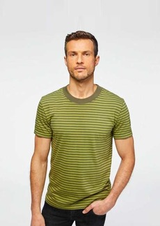 7 For All Mankind Short Sleeve Striped Modern Tee in Grass & Fatigue Stripes