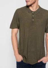 7 For All Mankind Short Sleeve Sweater Polo in Army