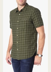 7 For All Mankind Short Sleeve Windowpane Linen Shirt