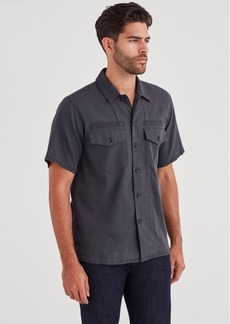 7 For All Mankind Short Sleve Military Shirt in Charcoal