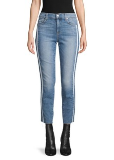 7 For All Mankind Side-Striped Mid-Rise Ankle Jeans