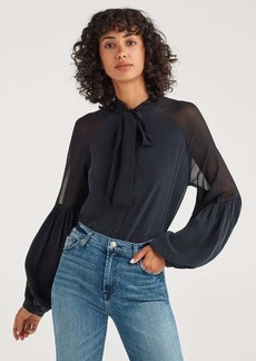 7 For All Mankind Silk Georgette Tie Neck Blouse In Jet Black