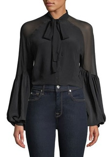 7 For All Mankind Silk Tie-Neck Blouson-Sleeve Top