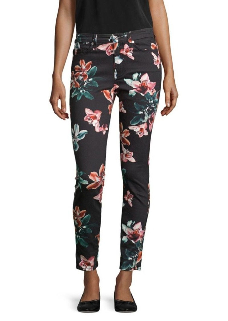 7 For All Mankind Skinny Floral Ankle Jeans