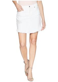 Skirt w/ Scallop Frayed Hem & Destroy in White Fashion 3
