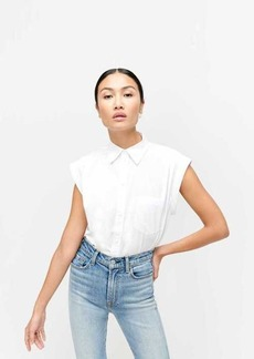 7 For All Mankind Sleeveless Cuffed Button-Up Shirt in Optic White