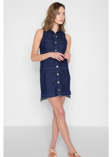 Sleeveless Dress with Step Hem in Deep Blue