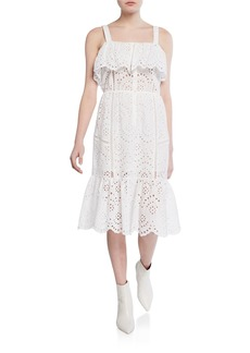 7 For All Mankind Sleeveless Eyelet Flounce-Hem Midi Dress