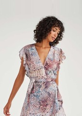 7 For All Mankind Sleeveless Ruffle Wrap Dress in Pink Snake