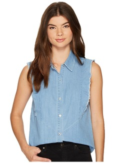 7 For All Mankind Sleeveless Ruffled Denim Shirt in Skyway Authentic Blue