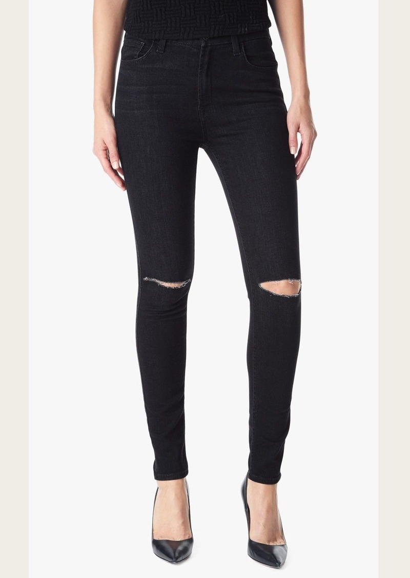 7 For All Mankind Slim Illusion High Waist Skinny in Rich Noir