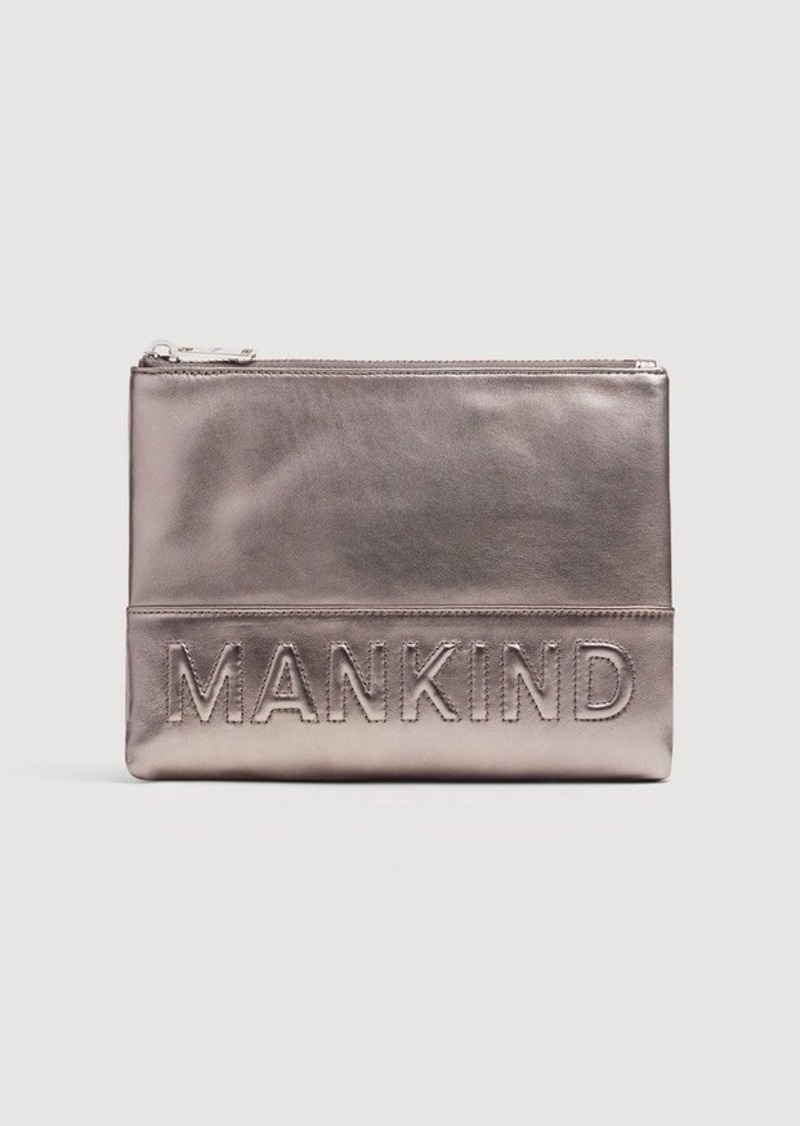 7 For All Mankind Small Mankind Clutch in Metal Pewter