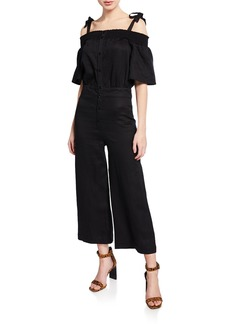 7 For All Mankind Smocked Off-Shoulder Jumpsuit
