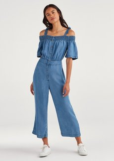 7 For All Mankind Smocked Off-Shoulder Jumpsuit in Classic Blue