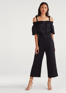 7 For All Mankind Smocked Off-Shoulder Jumpsuit in Jet Black