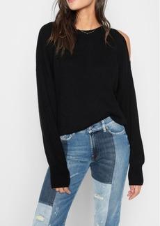 7 For All Mankind Split Sleeve Sweater in Ebony Black